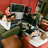 Students relax indoors at the Torrington campus