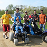 Engineering students in the School of Engineering designed and developed devices, including a novel recreational go-kart, to provide assistive mobility for an 11-year-old Connecticut boy afflicted with cerebral palsy